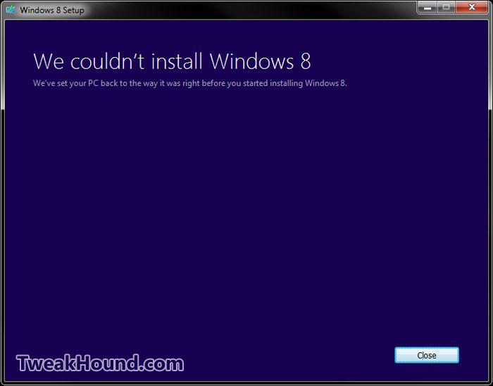 windows 8 upgrade fail
